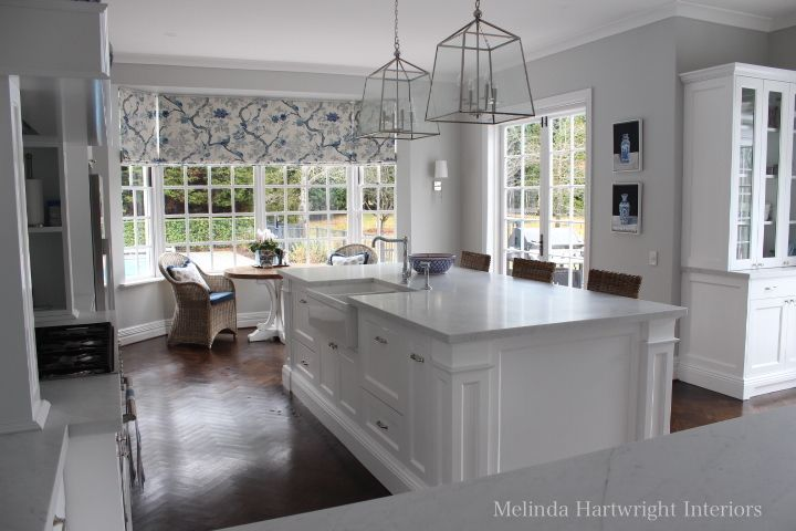 Blue and white kitchen, marble