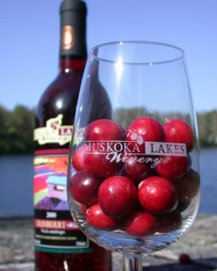 Muskoka Lakes Winery, Bala, Ontario. Two hours north of Toronto. Signature wines: Cranberry, Cranberry-Blueberry, White Cranberry, Wild Blueberry, Oak Aged Wild Blueberry and Red Maple (dessert wine made with cranberries and maple syrup).