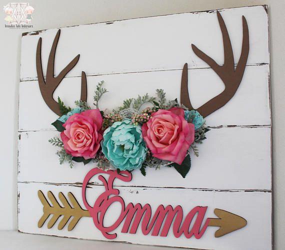 Grand bois floral signe en bois avec fleurs de fille   – girls room
