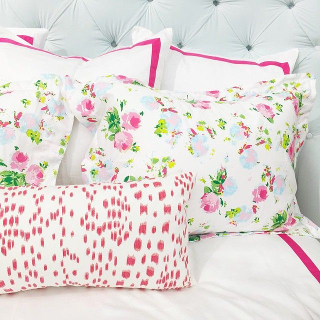 Biscuit Home: Bloomsbury pink shams, Hot Pink border duvet and euro shams, Les Touches pink lumbar.