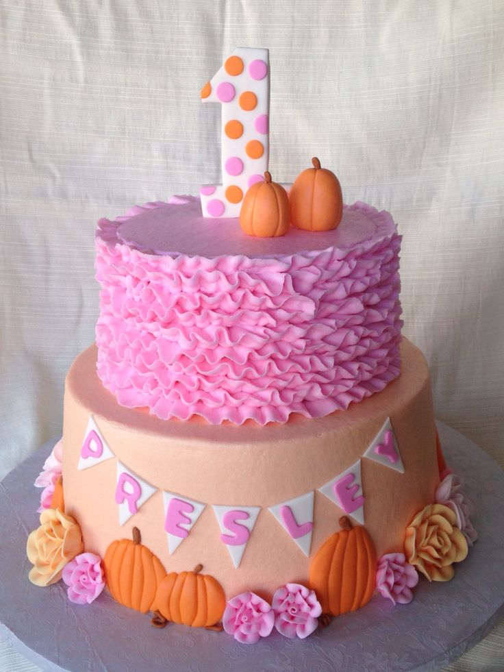 Autumn pink and pumpkin birthday cake from Frosting