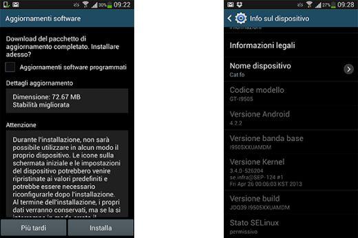Il Samsung Galaxy S4 italiano riceve il suo primo aggiornamento