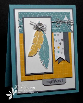 stampercamper.com - TSSC330 - I absolutely LOVE the Four Feathers set from the Holiday Mini and it was just PERFECT for the Technostamper Monday Lunchtime Sketch Challenge!  All the details on my blog.  Sets:  Four Feathers, And Many More