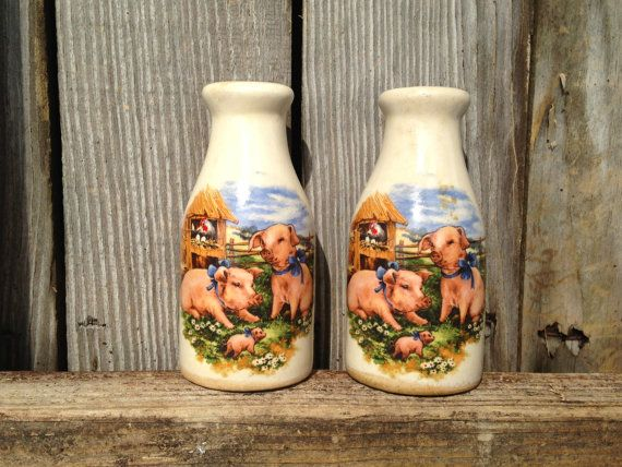 Vintage Pigs Salt U0026 Pepper Shakers ~ Milk Jug S And P Pots ~ Retro Barnyard  Kitchen Home Decor ~ Three Little Pigs ~ Old Pottery Accents