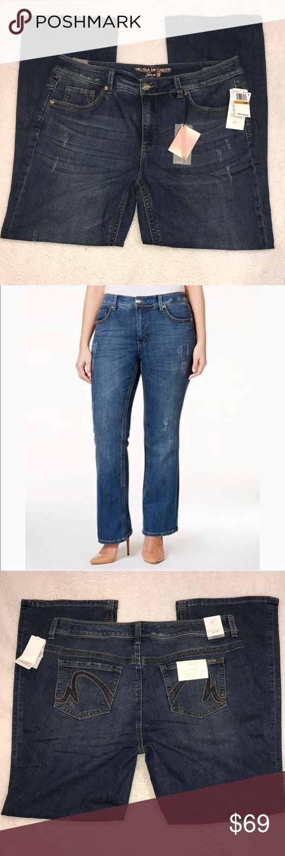Melissa McCarthy Seven7 Boot Cut Denim Jeans 16W Melissa McCarthy Seven7 Trendy Boot Cut Bootcut Distressed Denim Blue Jeans Size 16W New With Tags 31 inch inseam Melissa McCarthy Seven7 Jeans Boot Cut