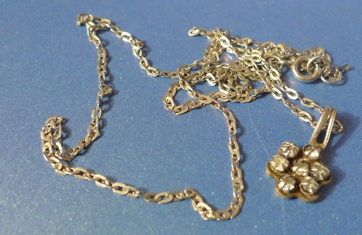 Vintage Soviet USSR Jewelry Sterling Silver 925 Necklace Chain w. Pendant flower