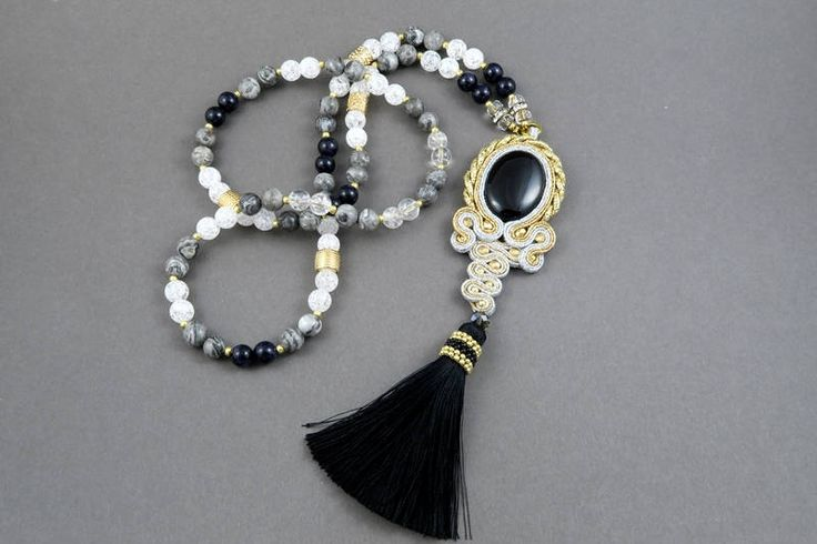 Long necklace stones/ onyx with soutache tassel by AnnaZukowska on Etsy