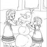 Disegni da colorare di Frozen per bambini, con Olaf e la principessa Elsa