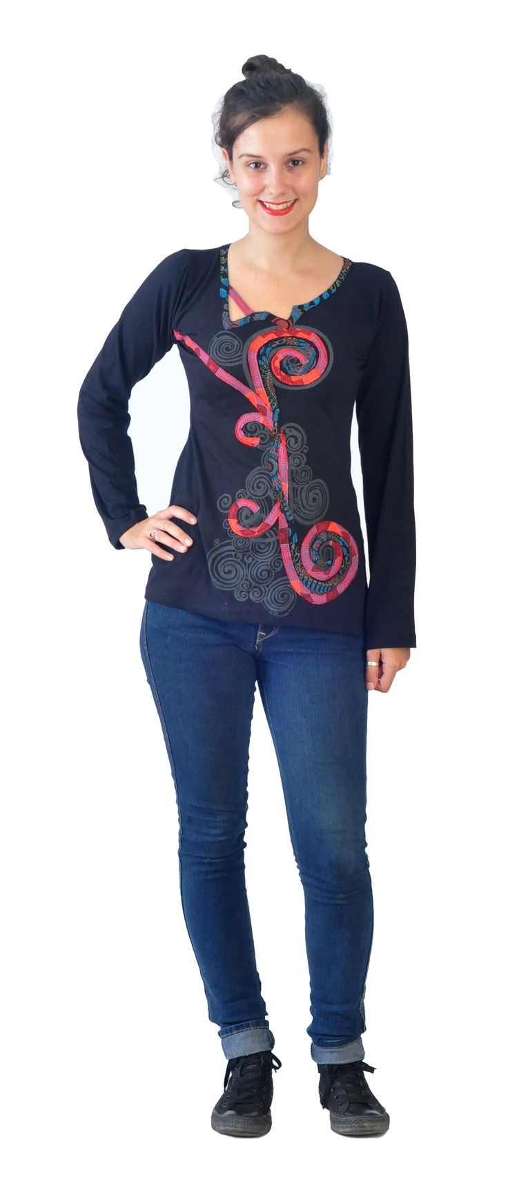 Long sleeve soft cotton tunic tops with flower patches and embroidery with contemporary neck cut!!!