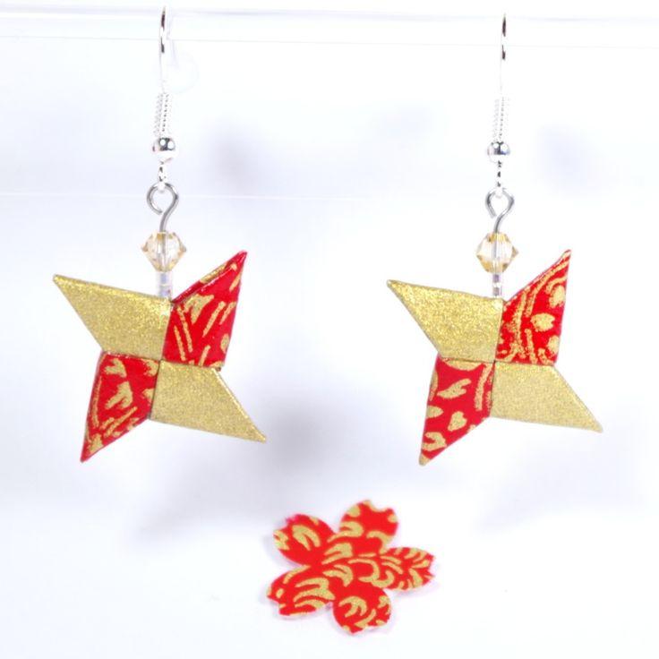 Boucles d'oreilles shuriken origami en papier japonais traditionnel rouge et doré - 2338 : Boucles d'oreille par lepaslaid