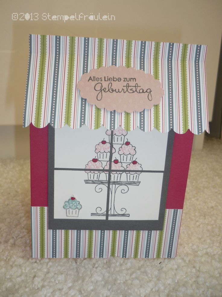 One of a kind Cupcake Boutique Greeting Card :) Using Stampin up Crazy Cupcakes Stamp set, Perfect pair Stamp set,  Designer paper series Vintage mix and Scallop border punch and Scallop oval punch