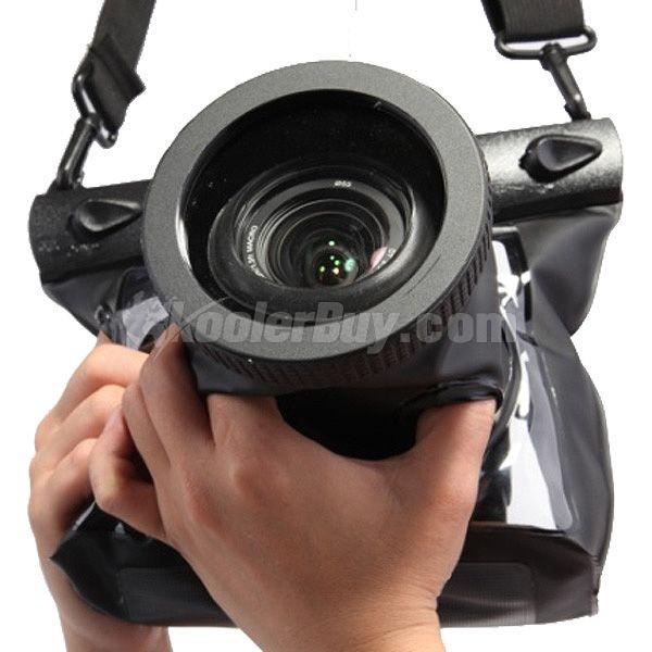 Waterproof camera case for DSLR underwater shooting.