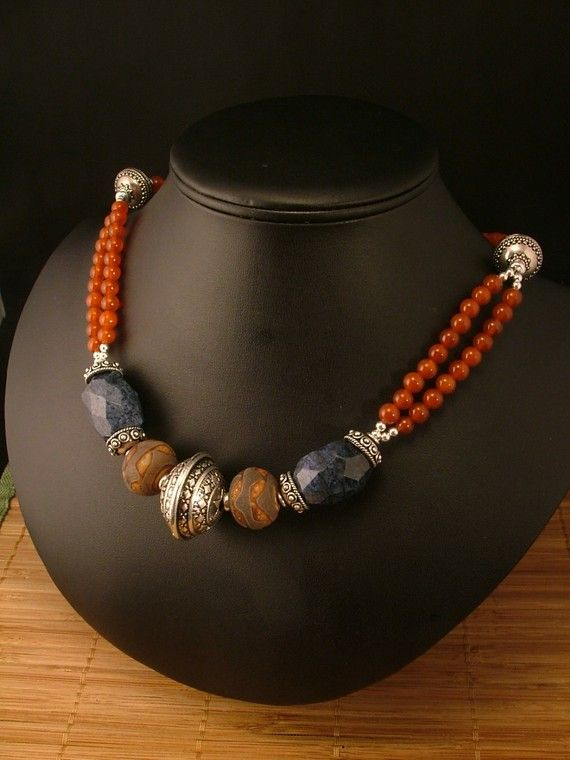 Twilight Blue Agate Carnelian and Antique Jade Necklace by Vivant, $58.00