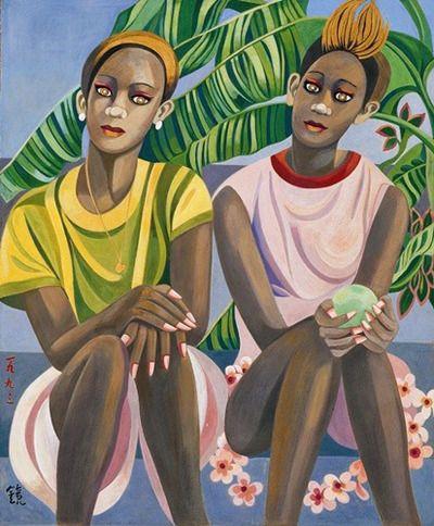 (Korea) Two Sisters of Graneda,1993 by Chun Kyung-ja (1924-2015). 천경자. 그레나다의 두자매.