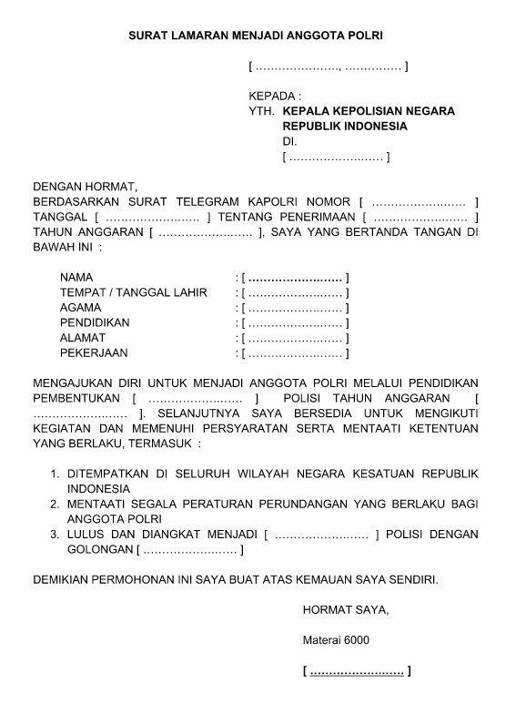 Contoh Surat Lamaran Kerja Menjadi Anggota Polri Polwan ...