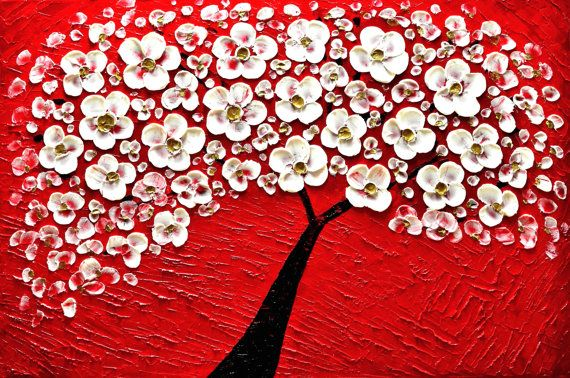 tree painting landscape impasto textured acrylic oil by malorcka, $345.00