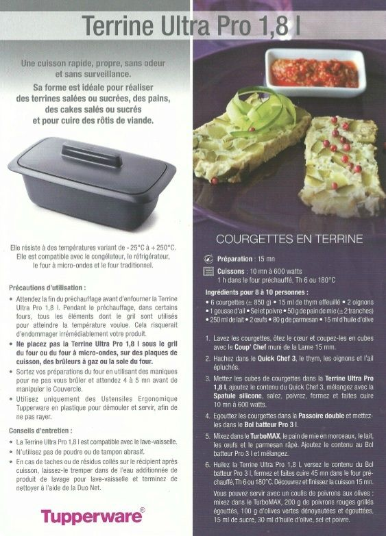 Fiche recette Tupperware: Terrine Ultra Pro