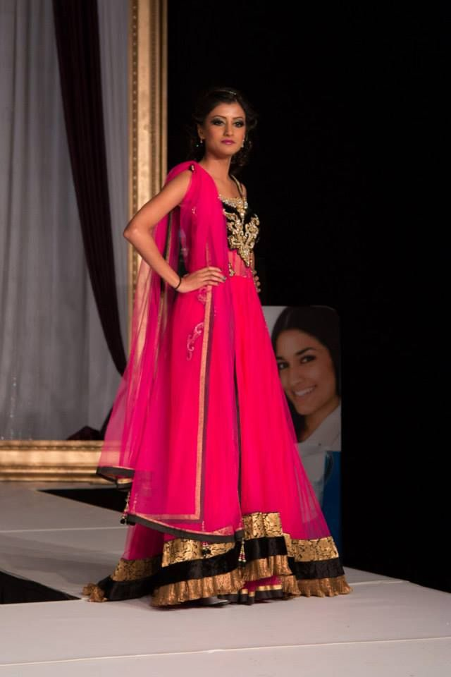 Stunning gown with a punch of fuchsia for a fantastic design from Chandan Fashion