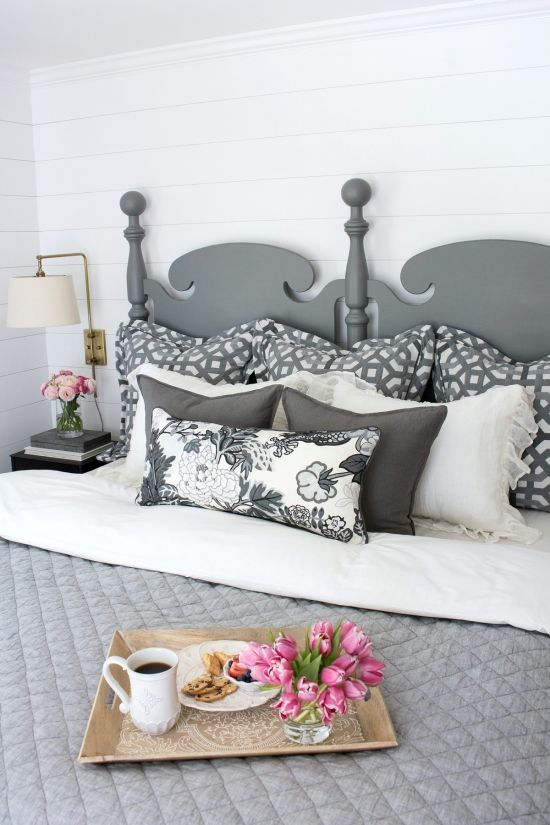 Grey Painted Headboard with Ship Lap White Wall