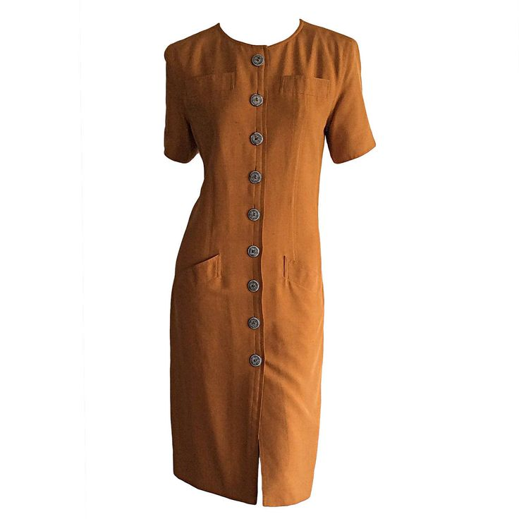 Vintage Yves Saint Laurent  Safari Silk Shirt Dress w/ Ethnic Buttons  YSL   From a collection of rare vintage evening dresses at https://www.1stdibs.com/fashion/clothing/evening-dresses/