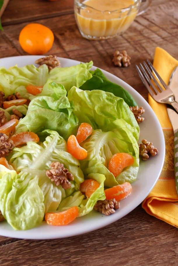 Butter Leaf, Tangerine and Toasted Walnut Salad with a Citrus Dressing / Patty's Food