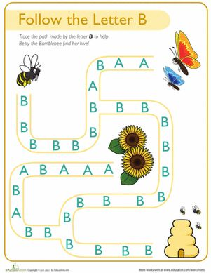 Done-printed to put in B box.  Follow the Letter B Path Worksheet
