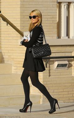 Great look for Paris Hilton wearing CHANEL handbag. Wear it you too by renting on www.rentfashionbag.com