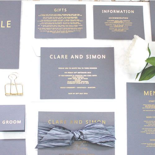 Grey And Gold Wedding Invitations From Www Madewithlovedesigns Co Uk Metallic Foil Printed