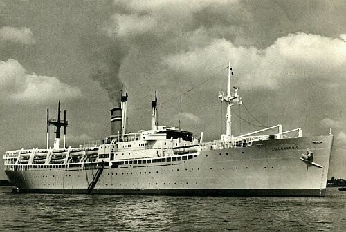 SS Zuiderkruis built in 1944 as Cranston Victory. 1947 purchased by Dutch Government from USA for use as a troopship and renamed Zuiderkruis and managed by Netherland Line. In 1951 converted to use an emigrant ship and transferred to Rotterdam Lloyd Line.