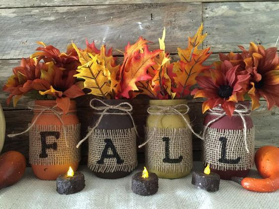 Burlap Mason Jar Decoration.