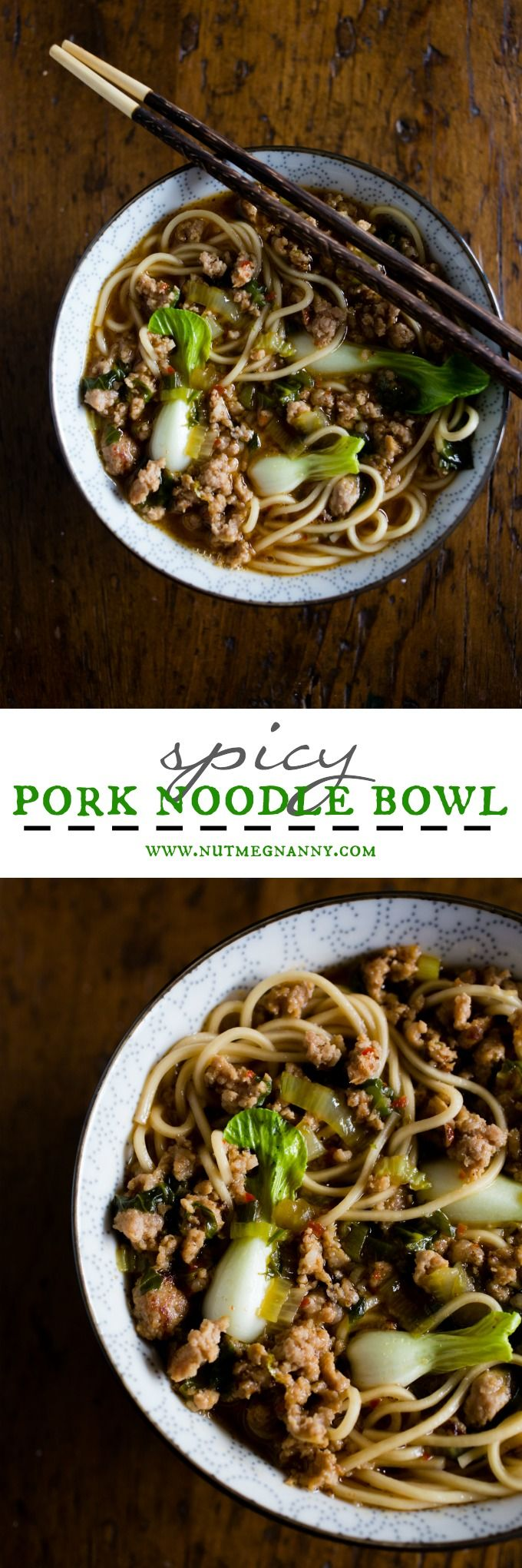 This spicy pork noodle bowl is packed full of flavor and ready in just 30 minutes. It's a quick and easy meal that is sure to please you whole family! Spicy ground pork sautéed with Sichuan peppercorns and swimming in a delicious broth with baby bok choy and perfectly cooked noodles.