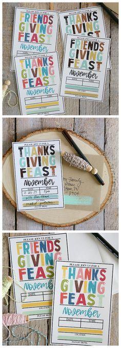 Free Printable Thanksgiving Invitations - Includes printable Friendsgiving Invites too!