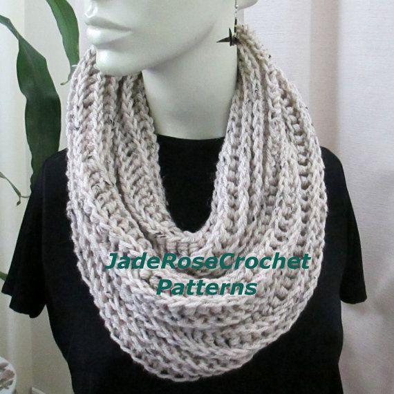 Crochet Scarf Pattern, Infinity Scarf, Unisex Scarf, Crochet Scarf ...