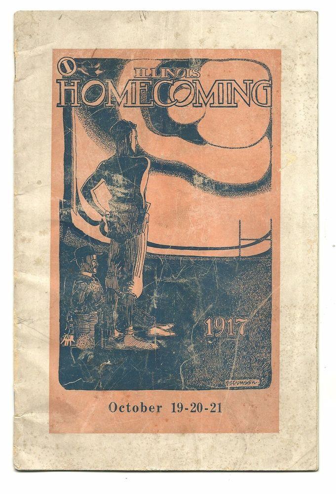 1917 GEORGE HALAS University of Illinois Football Homecoming Program  #UofIFightingIllini