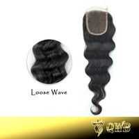 Free Shipping Loose Wave 4''x3.5'' (H/L) QWB Top Closure Slightly Bleached Knots Top Grade Brazilian Virgin Hair Lace Closure