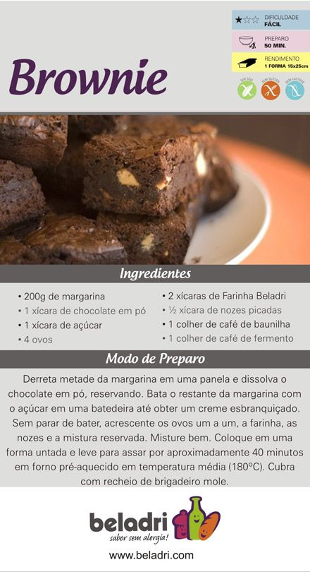 Receita de Brownie sem Glúten! Farinha sem Glúten Beladri você compra online aqui no Empório Ecco. Confira: https://www.emporioecco.com.br/farinha-sem-gluten-beladri
