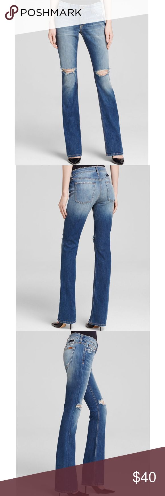 """Joe's Jeans The Vixen Bootcut Jeans Joe's Jeans 'The Vixen' Bootcut Jeans in Celeste. Size 23. Mid-rise fit. Contrast stitching, copper-tone hardware, faded, whiskered, distressed. Retail $179  Waist - 24"""" Rise - 7"""" Inseam - 33"""" Joe's Jeans Jeans Boot Cut"""