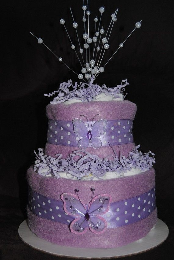Lavender Butterfly Diaper Cake By Ericajmoore On Etsy