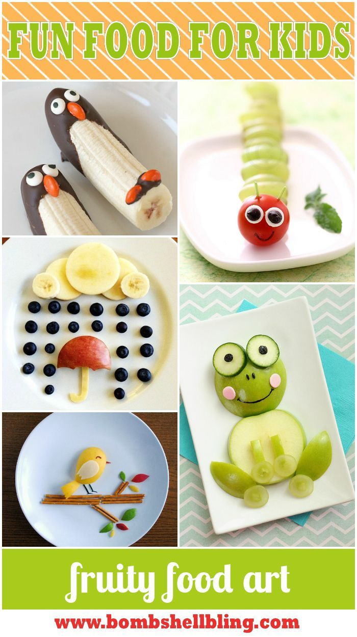 "15 Fun Food Art for Kids Ideas - Give kids the ""tools"" and the pic and they can create them on their own!"