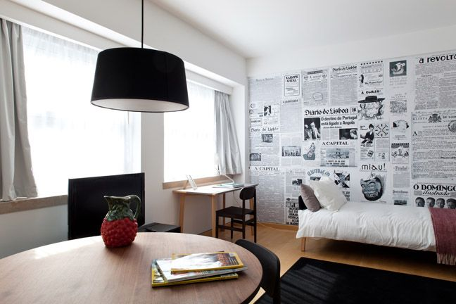 The Lisbonaire Apartments, for holiday rental in Lisbon. Wall design by Ricardo Mealha, furniture by Pedrita.