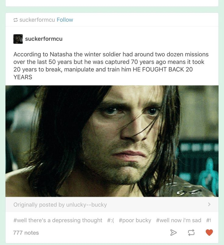 Is :) there anything :) about :) Bucky's back story :) that doesn't make :) me :) want :) to sob :)))))