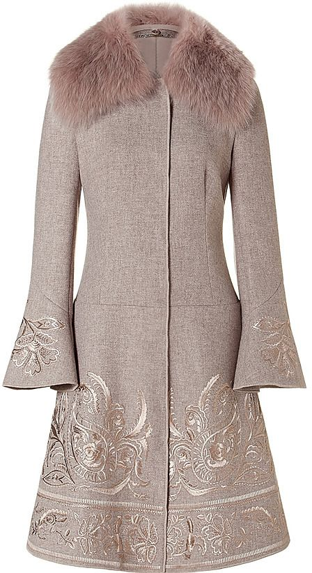 Shop for Khaki Embroidered Wool Coat with Fur Collar by Alberta Ferretti at ShopStyle. Now for Sold Out.