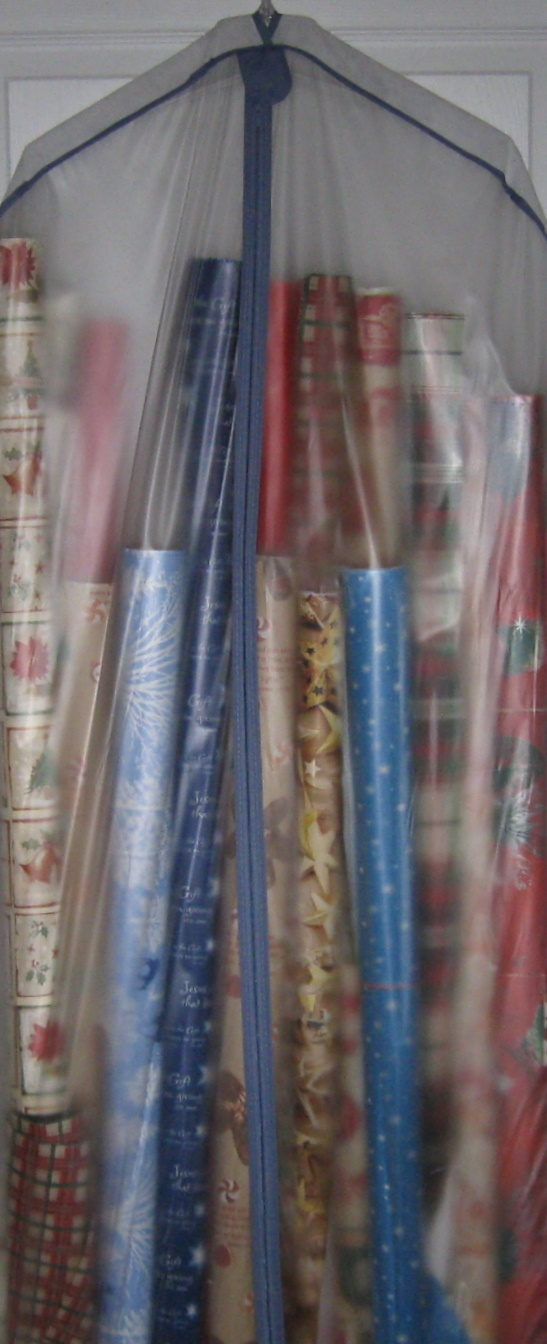 Use a Clear Garment Bag for storing gift wrap supplies.