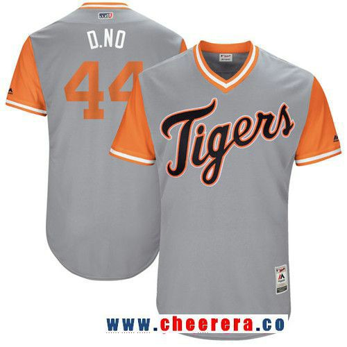 Men's Detroit Tigers Daniel Norris -D. No- Majestic Gray 2017 Little League World Series Players Weekend Stitched Nickname Jersey