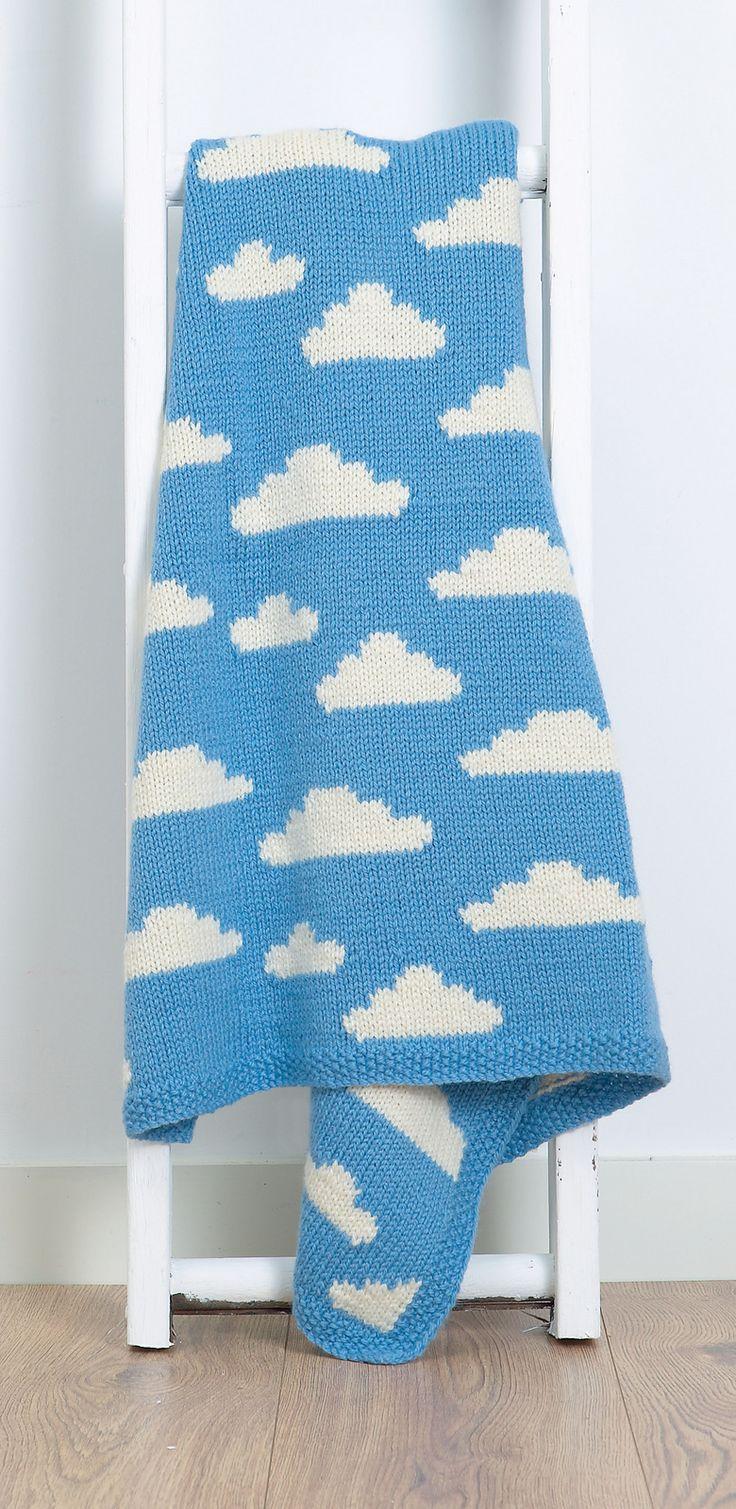 Knitted Fluffy White Clouds Blanket - Vikki Bird