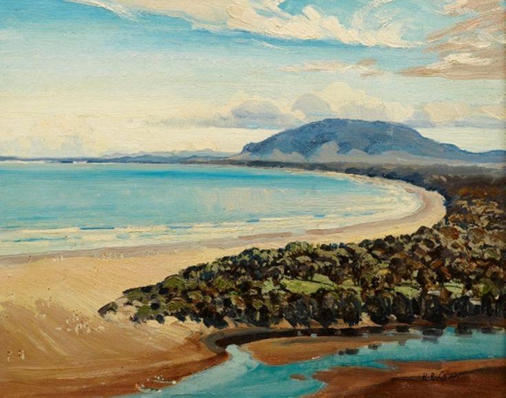 Oil painting by Herbert Reginald Gallop (1890-1958) Seven Mile Beach Gerroa Gerringong