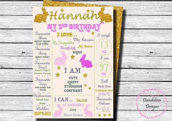 Bunny First Birthday chalkboard Bunny 1st Birthday Sign Pink