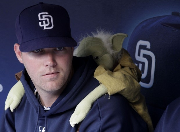 Yoda finds his way into Padres bullpen along with Chewbacca and a Storm Trooper!  #sandiego #padres #yoda #starwars #sd #baseball