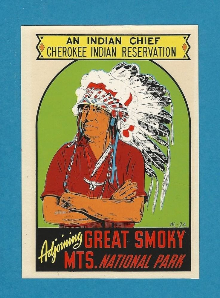 "VINTAGE ORIGINAL 1950 ""AN INDIAN CHIEF"" CHEROKEE INDIAN RESERVATION DECAL ART"