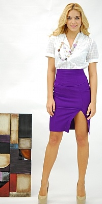 High Slit Purple Skirt Outfit - Appropriate for any workplace